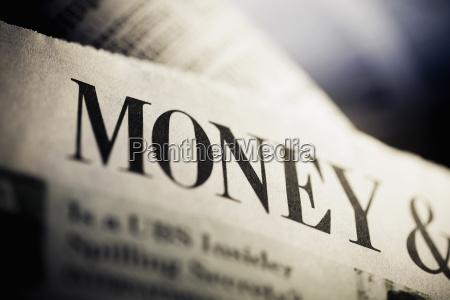 close up of a financial newspaper
