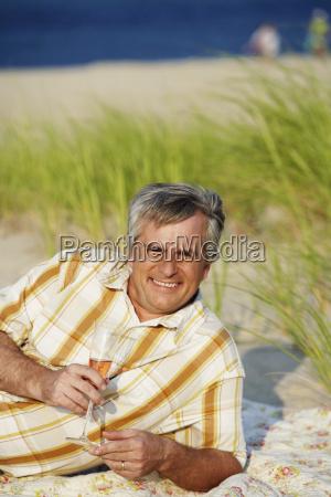 portrait of a mature man lying