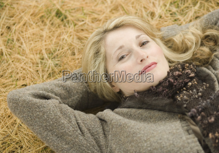 portrait of a mature woman lying