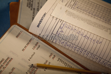 close up of inventory documents