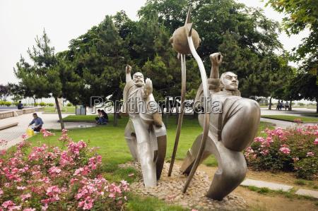 statues in a park qingdao shandong