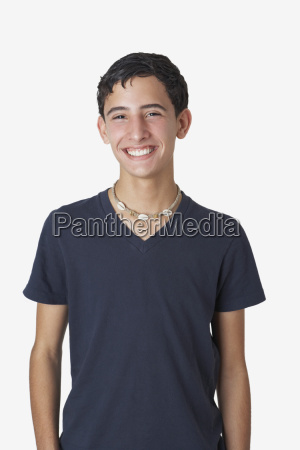 portrait of a teenage boy smiling