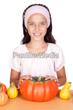 happy girl in halloween with a