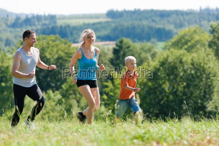 family doing sports jogging
