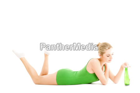 young woman in green slip