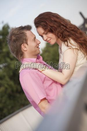 romantic couple on the bridge