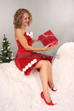 woman with gift christmas