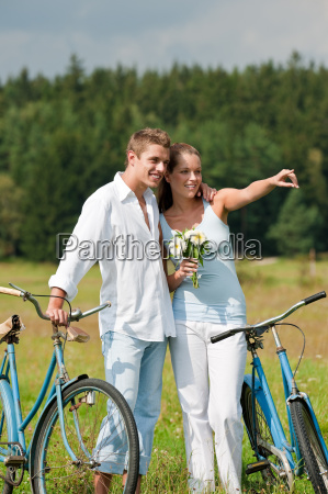 summer romantic couple with old