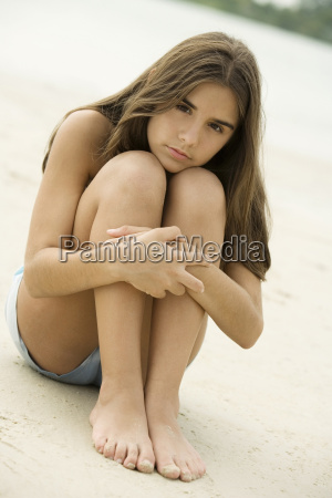 portrait of a teenage girl sitting