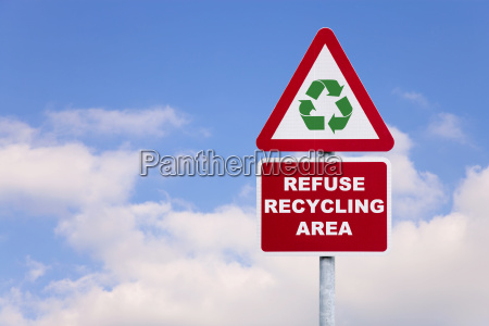 refuse recycling area sign