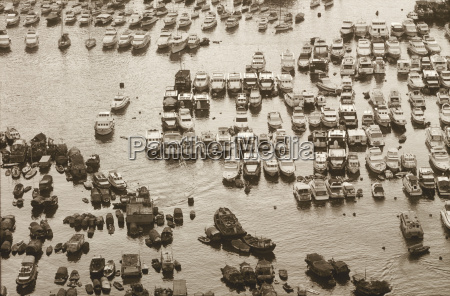high angle view of boats moored