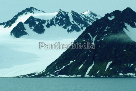 snowcapped mountains at the waterfront svalbard