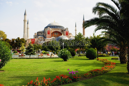 formal garden in front of mosque