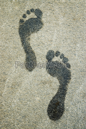 close up of footprints