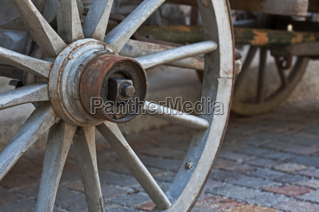 wooden wheel on old carriage