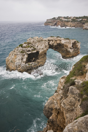 mallorca spain rock bay steep coast