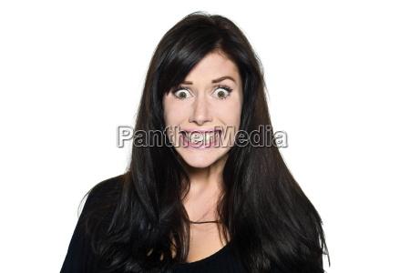 woman beautiful portrait stress fear toothy