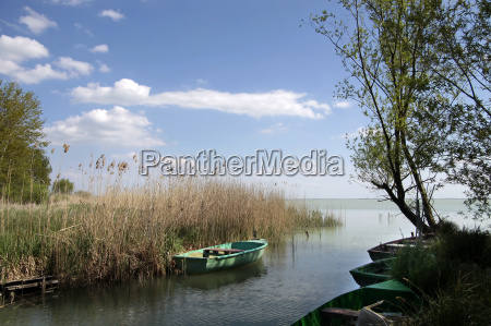 small boats at lake balaton
