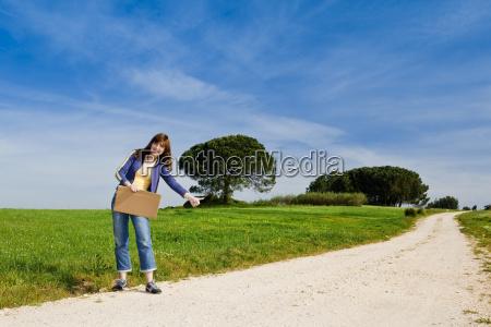 hitch hiking girl