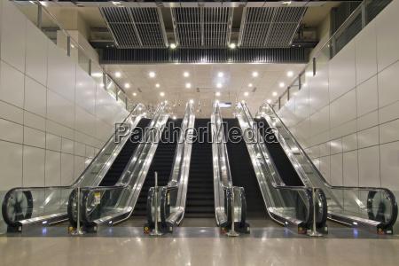 escalators in underground tunnels