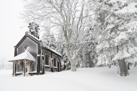 church winter chapel ice black forest