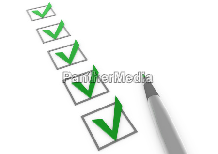 3d check box green pencil white