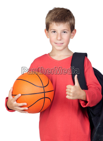 student little child with basket ball
