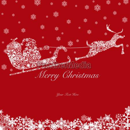 santa on sleigh with reindeer snowflakes