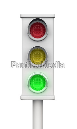 green 3d traffic light gray