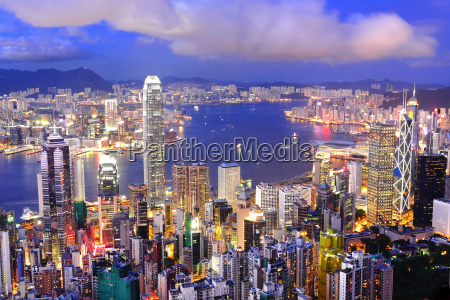 hong kong central district skyline and