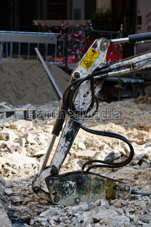 excavator close up on a construction