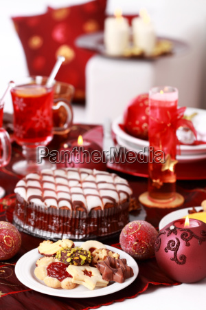 christmas cookies with marchpane cake and