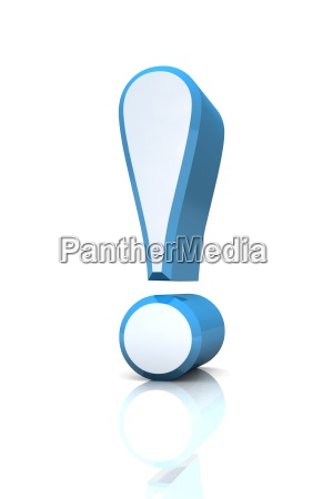 3d exclamation mark silver blue