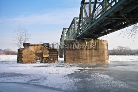 inverno ponte brandenburg gelo neve rio