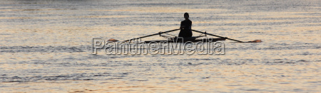 rowing in the evening light