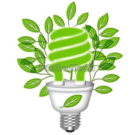 energy saving eco lightbulb with green