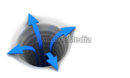 3d arrows concept blue