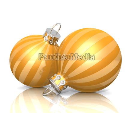 2 christmas balls gold yellow
