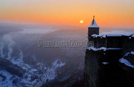 koenigstein fortress in the sunset