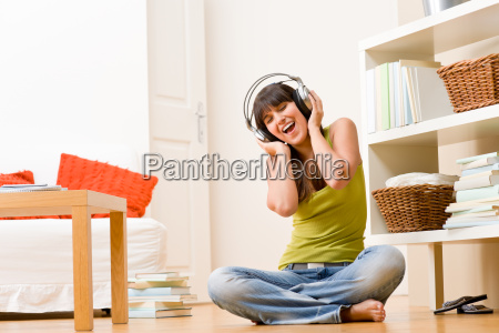 teenager girl relax home happy