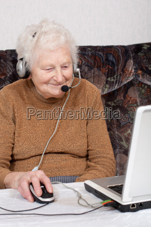 granny with headset