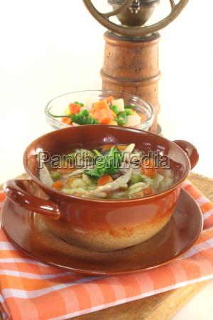 noodle soup stockpot chicken soup pottage