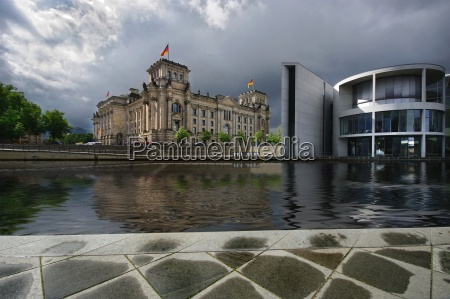 berlin parliament flag rain weather building