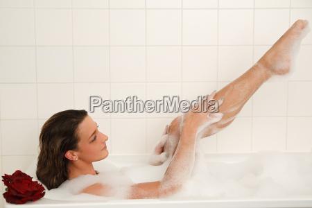 woman bathes