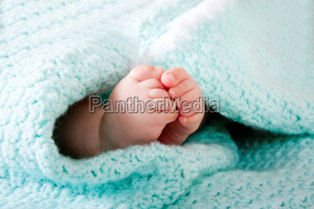 baby feet in blanket