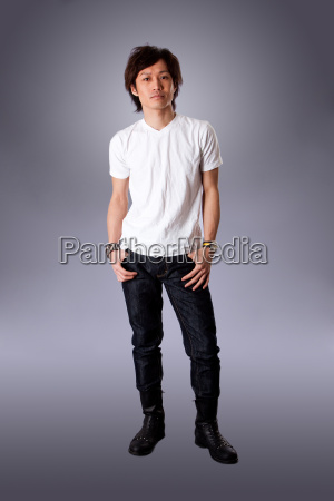 casual asian man in white shirt