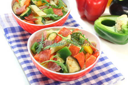 noodles paprika peppers olives eggplant courgette