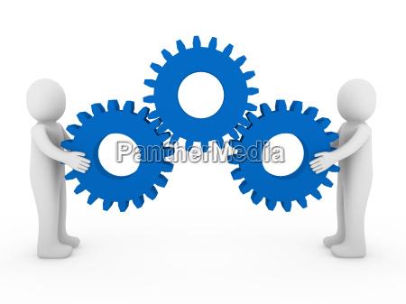3d human gear machine blue