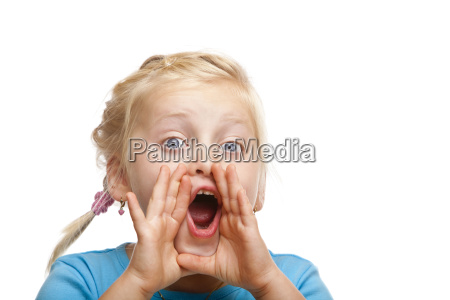 young blond girl screams