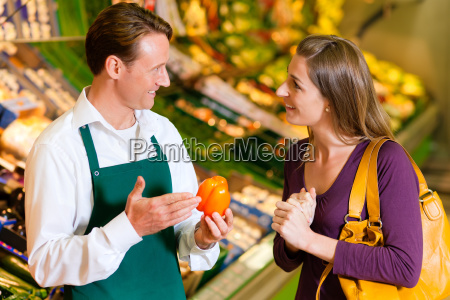 woman in supermarket and retailers